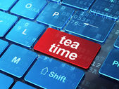 Timeline concept: Tea Time on computer keyboard background — Stockfoto
