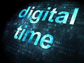 Timeline-konzept: digitale zeit auf pixelig hintergrund — ストック写真