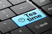 Timeline concept: Clock and Tea Time on computer keyboard — Stock Photo