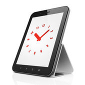 Time concept: Clock on tablet pc computer — Stockfoto