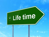 Life Time and Clock on road sign background — Stock Photo