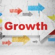 Finance concept: arrow with Growth on grunge wall background — Stock Photo #44146053