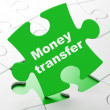 Business concept: Money Transfer on puzzle background — Stock Photo