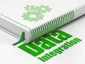 Koncepcja informacje: książka narzędzi połowowych, integracji danych na białym tle — Zdjęcie stockowe