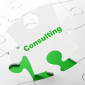 Finance concept: Consulting on puzzle background — Foto Stock