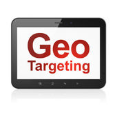 Finance concept: Geo Targeting on tablet pc computer — Stock Photo
