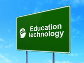 Education concept: Education Technology and Head With Gears on road sign background — Stock Photo