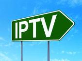 Web 的设计理念: iptv 道路标志背景 — 图库照片