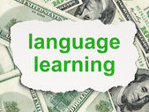 Education concept: Language Learning on Money background — Foto de Stock