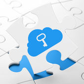 Cloud networking concept: Cloud With Key on puzzle background — Stock Photo