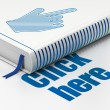 Web design concept: book Mouse Cursor, Click Here on white background — Stock Photo