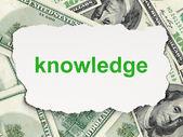 Concepto de la educación: el conocimiento en dinero de fondo — Foto de Stock