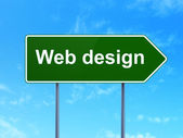 Web development concept: Web Design on road sign background — Stock Photo