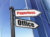 Finance concept: sign Paperless Office on Building background — Stock Photo