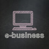 Business concept: Computer Pc and E-business on chalkboard background — Foto de Stock