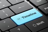 Timeline concept: Clock and Timeline on computer keyboard background — ストック写真