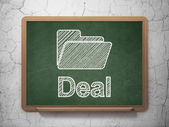 Business concept: Folder and Deal on chalkboard background — Stock Photo