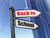 Education concept: sign Back to School on Building background — Foto de Stock