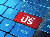 Marketing concept: About Us on computer keyboard background — Stock Photo