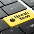 Time concept: Clock and Break Time on computer keyboard background — Stock Photo #44379617