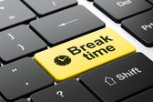 Time concept: Clock and Break Time on computer keyboard background — Stock Photo