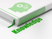 Education concept: book Head With Gears, Knowledge on white background — Стоковое фото