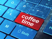 Time concept: Coffee Time on computer keyboard background — Stock Photo