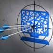 Education concept: arrows in Computer Pc target on wall background — Stock Photo