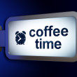 Timeline concept: Coffee Time and Alarm Clock on billboard background — Stock Photo