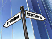 Education concept: sign Military Training on Building background — 图库照片
