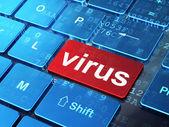 安全コンセプト: コンピューターのキーボードのバック グラウンドでのウイルス — ストック写真