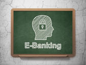 Business concept: Head With Padlock and E-Banking on chalkboard background — Foto de Stock
