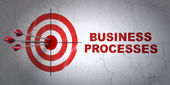 Finance concept: target and Business Processes on wall background — Stock Photo
