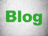 Web development concept: Blog on wall background — 图库照片