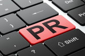Advertising concept: PR on computer keyboard background — Foto de Stock