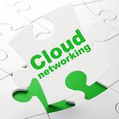 Cloud technology concept: Cloud Networking on puzzle background — Foto de Stock