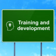 Education concept: Training and Development and Head With Lightbulb on road sign background — Stock Photo #44682159