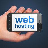 SEO web development concept: Web Hosting on smartphone — Stock Photo