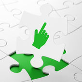 Koncepce rozvoje webu: kurzor myši na pozadí puzzle — Stock fotografie
