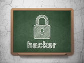 Security concept: Closed Padlock and Hacker on chalkboard background — Stock Photo