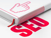 Web development concept: book Mouse Cursor, SEO on white background — Stock Photo