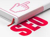 Web development concept: book Mouse Cursor, SEO on white background — Foto de Stock