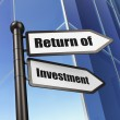 Finance concept: sign Return of Investment on Building background — Stock Photo