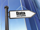 Protection concept: sign Data Encryption on Building background — Stock Photo