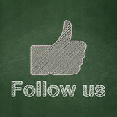 Social network concept: Thumb Up and Follow us on chalkboard background — Stock Photo