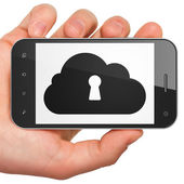Cloud technology concept: Cloud With Keyhole on smartphone — Stock Photo