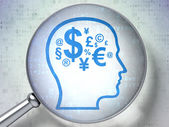 Education concept: Head With Finance Symbol with optical glass on digital background — Stock Photo