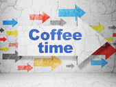 Time concept: arrow with Coffee Time on grunge wall background — Foto Stock