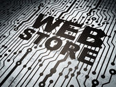 O conceito de design web: placa de circuito com loja na web — Fotografia Stock