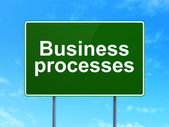 Finance concept: Business Processes on road sign background — Photo